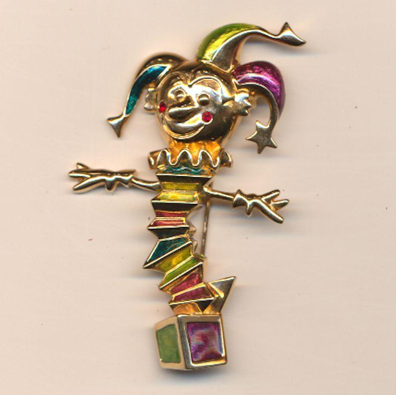 Vintage Swarovski Enamel Jack-in-the-Box Pin Brooch