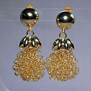 Big Dangling Coil Earrings - Great Chunky Vintage Fun