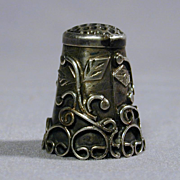 Ornate Old Sterling Silver Sewing Thimble