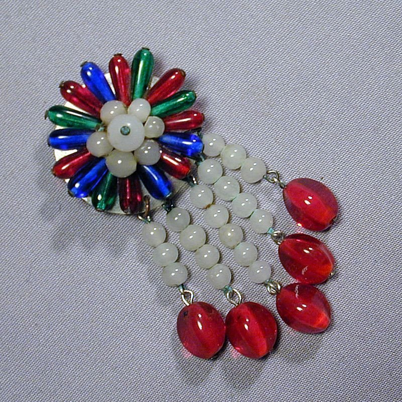 1930s  Czech Glass Bead Dangles Pin Brooch