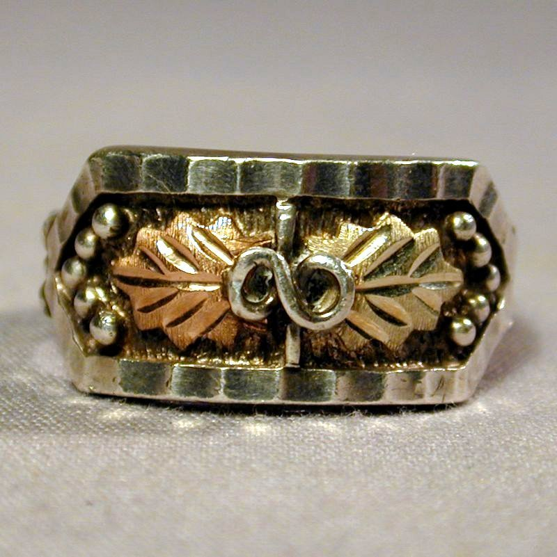 Vintage Sterling Silver Ring w/ 10K Gold in Two Tones