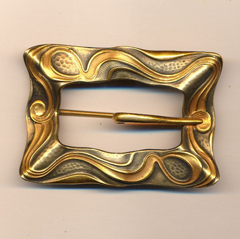 Old c1900 Art Nouveau Buckle Sash Pin Brooch