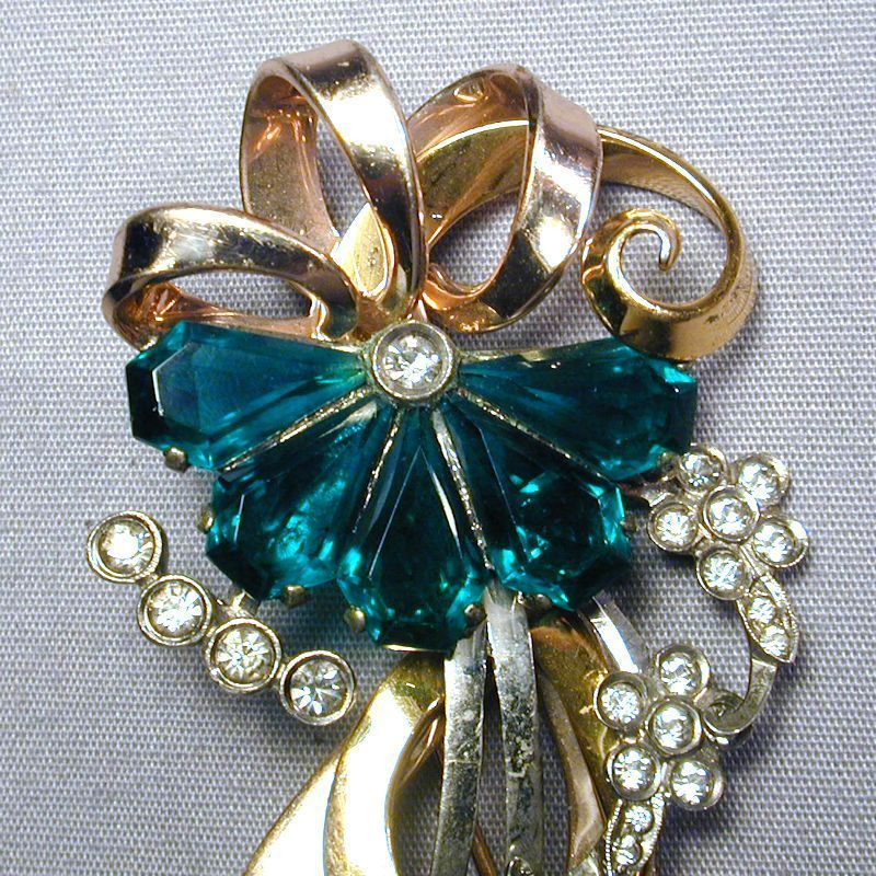 Art Deco Sterling Vermeil Rhinestone Flower Pin Brooch