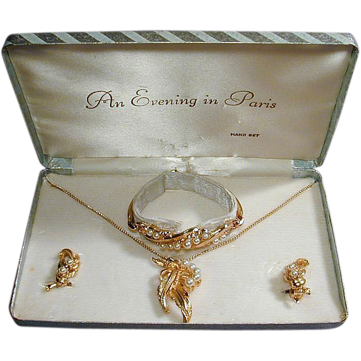 Vintage 1950s EVENING IN PARIS Jewelry Set in Box