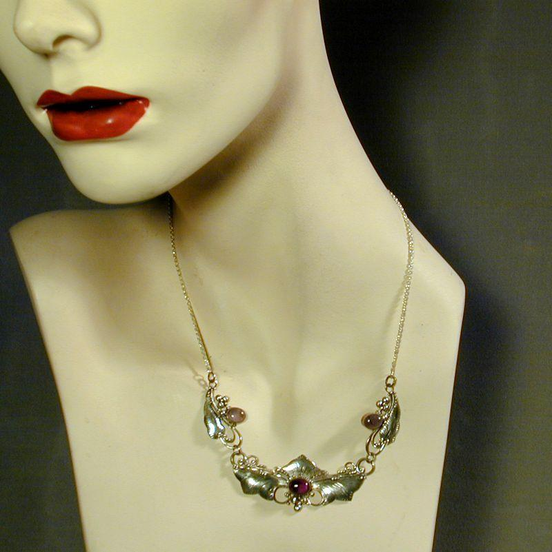 Vintage Sterling Silver - Amethyst Art Nouveau Style Necklace