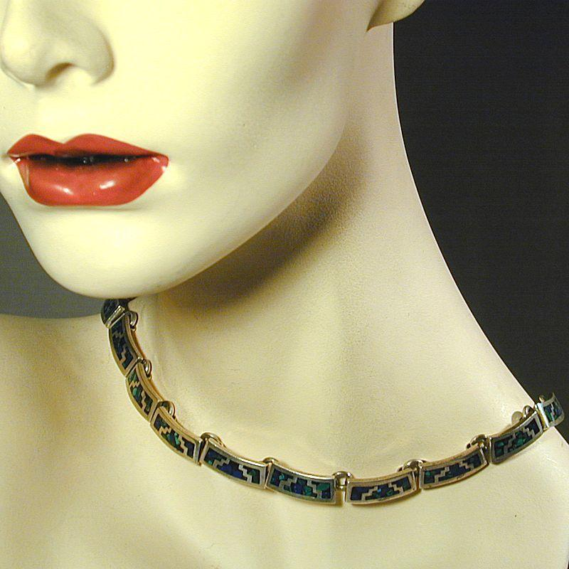 Modernist Mexican Sterling Silver Necklace Inlaid Beauty