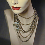 Lucien Piccard Long Multi-Chain Necklace Bold Chains