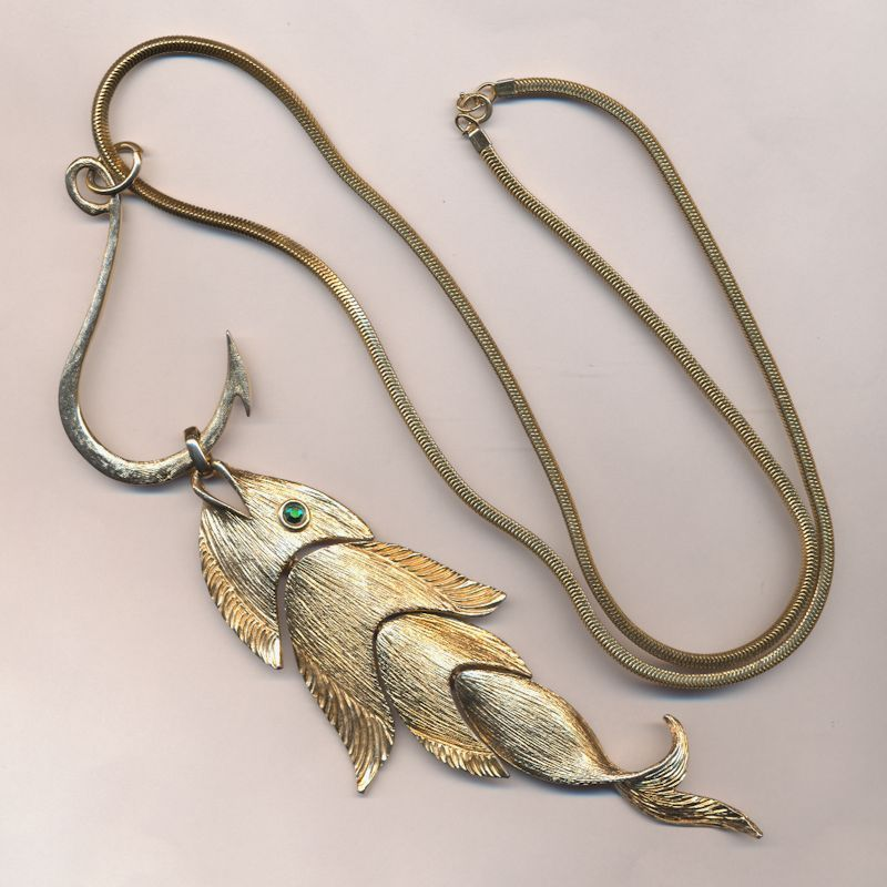 NAPIER 6-Inch Fish on a 3-Inch Hook Pendant Necklace