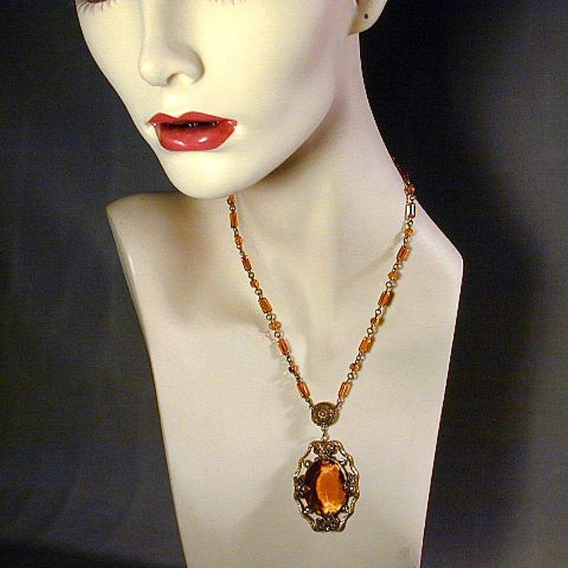 Art Deco Era Czech Amber Glass & Brass Necklace
