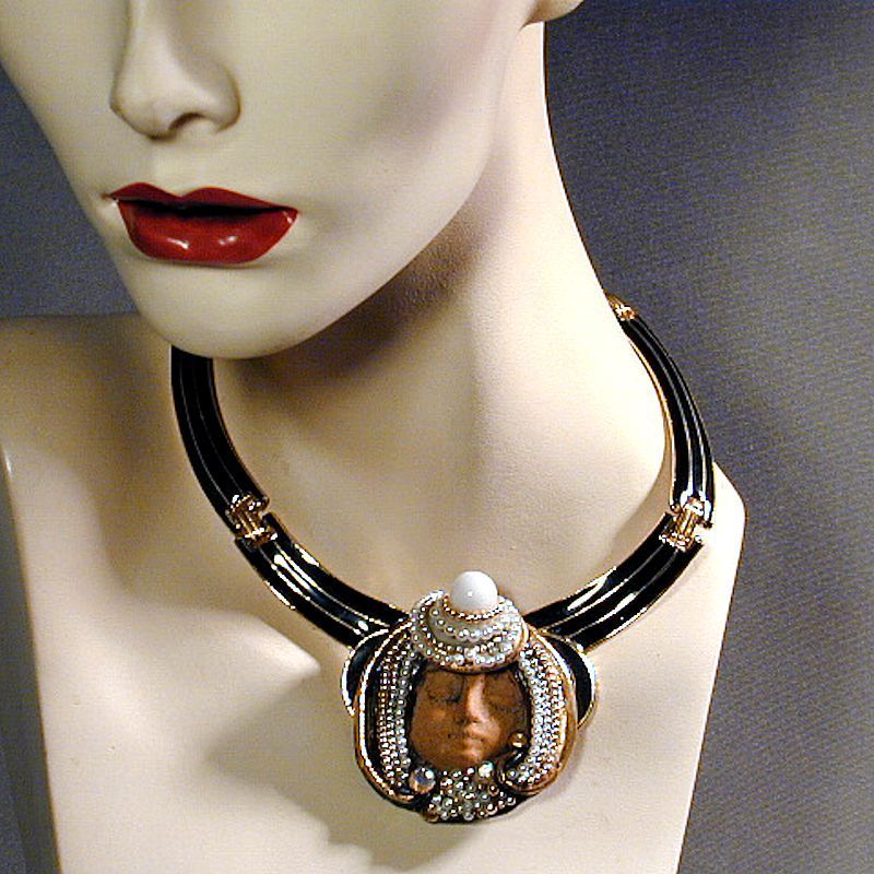 Vintage Jeweled Head Face Necklace Enamel Big & Bold