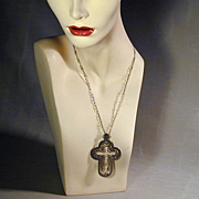 Vintage Big Sterling Silver Cut-Out Cross Pendant Necklace