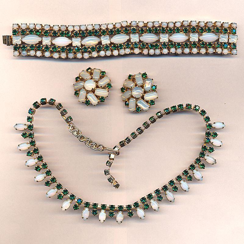 Vintage Rhinestone Parure Opalescent & Faux Emerald Set