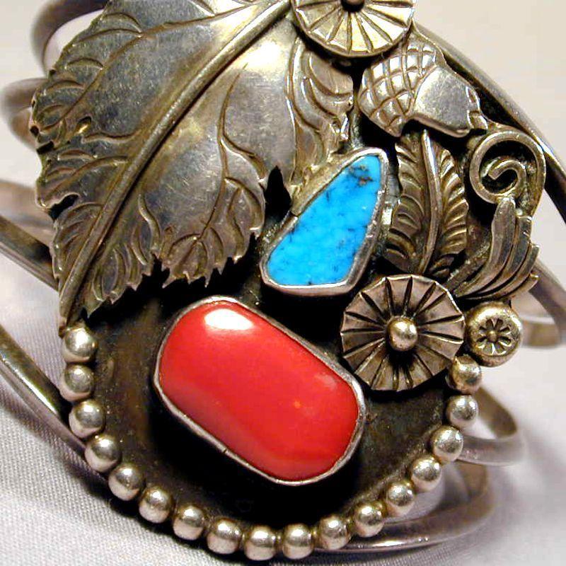 Vintage Navajo Bracelet Sterling Turquoise Coral - Signed