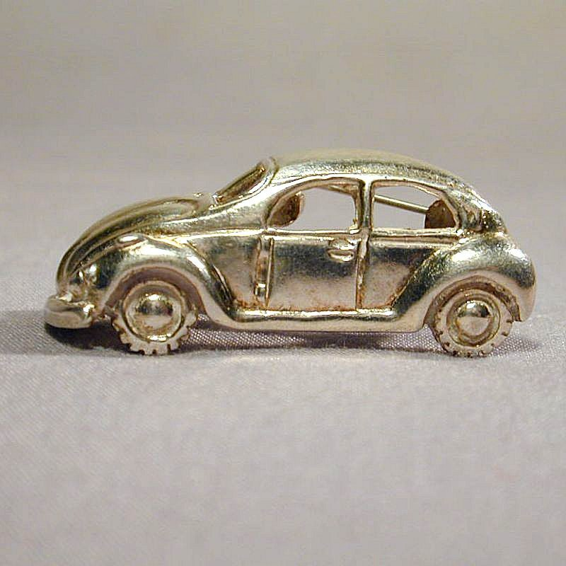 Mexican Sterling Silver Figural CAR Pin Signed