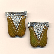 Pair Art Deco Carved Bakelite Clips w/ Rhinestones