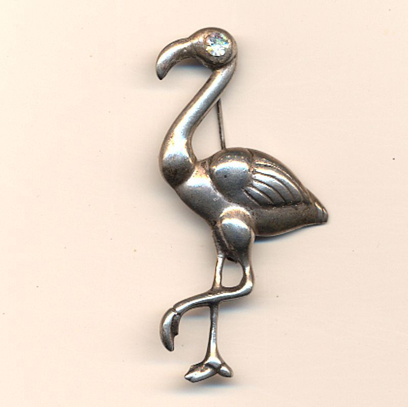 Vintage 1950s Mexican Silver FLAMINGO Pin