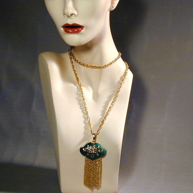 Crown Trifari Jewels of India Lucite Pendant & Earrings Set
