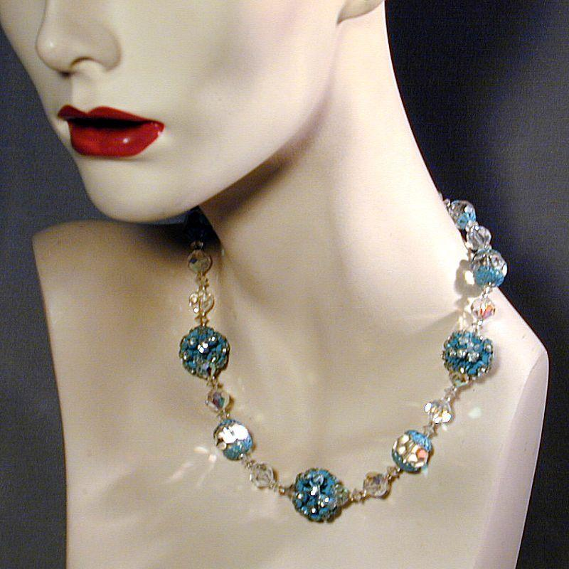 VENDOME Crystal Enamel & Rhinestone Necklace / Earrings Set