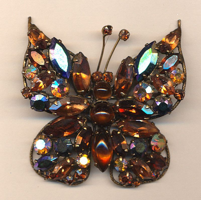 1950s REGENCY Rhinestone Butterfly Pin Brooch - Book Piece