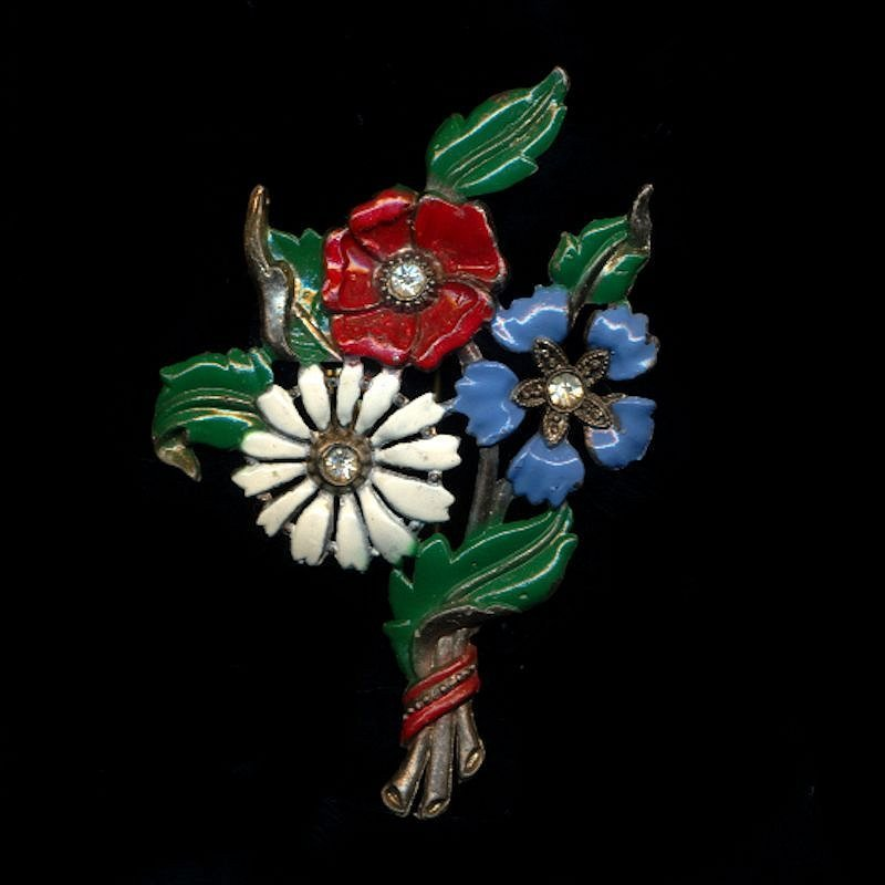 Vintage 1940s Enamel Flower Pin w/ Secret Perfume Bottle