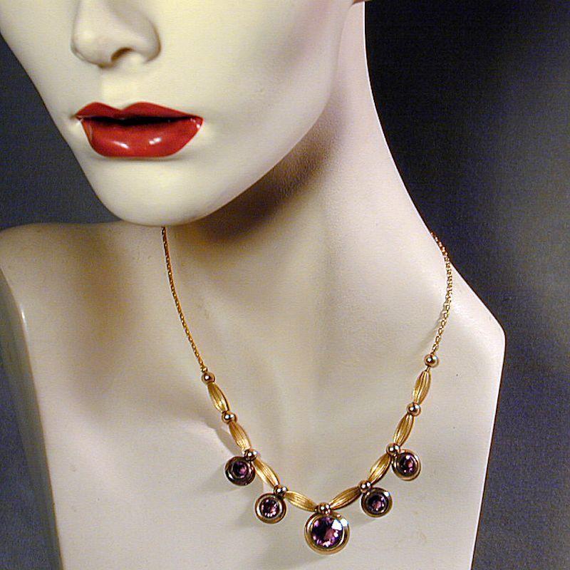 Vintage Art Deco Era Gold-Filled Necklace w/ Amethyst