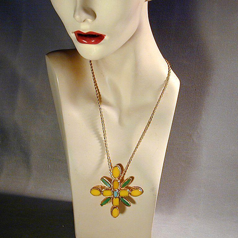 Vintage 3-Color Stone Maltese Cross Pin or Pendant Big
