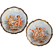 Pair LIMOGES Pastaud Miniature Plates w/ Cherub Angels