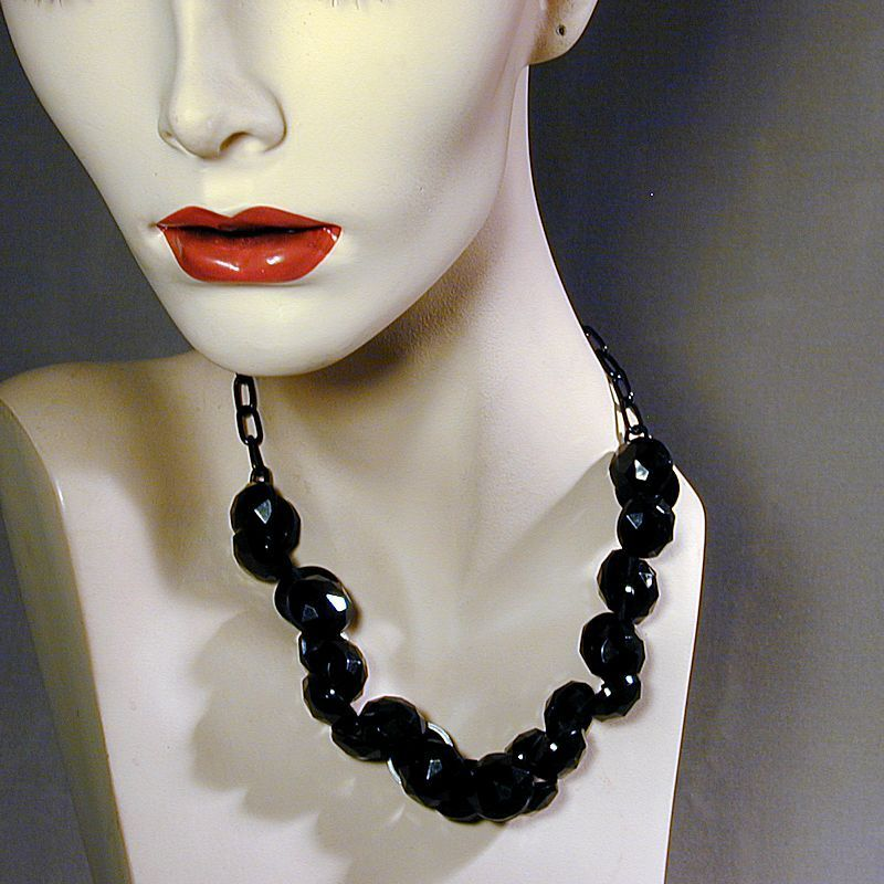 Original Art Deco Era Black Button Necklace Old Plastic