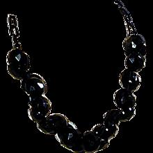 Original Art Deco Era Black Button Necklace Old Plastic