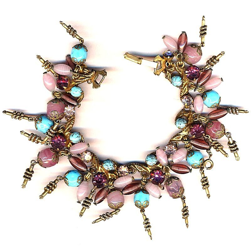 Great Old Art Glass & Rhinestone Charm Bracelet