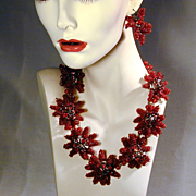 Vintage Amazing Red Glass Beaded Necklace Earrings Set