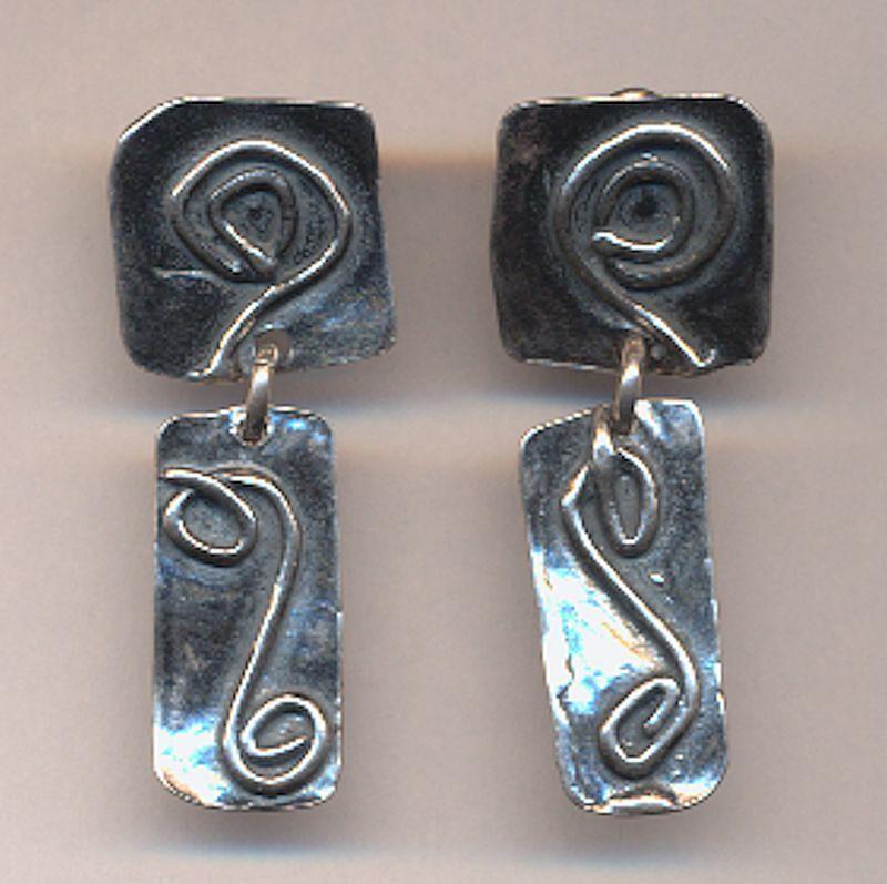 Modernist Sterling Silver Signed Dangle Earrings