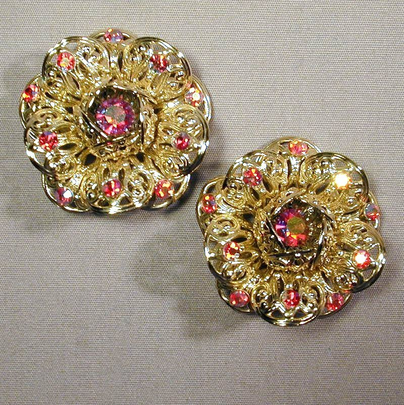 Vintage Sarah Cov Big Bold Red Rhinestone Earrings