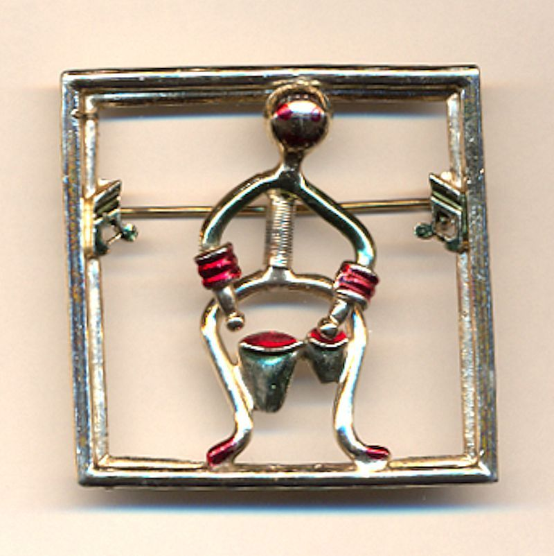 Vintage Bongo Drum Man Pin Brooch - He Moves