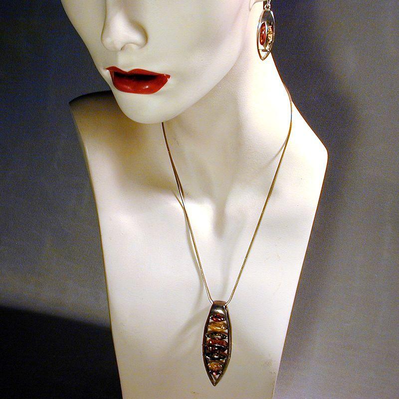 Modernist Sterling & Multi Amber Necklace Earrings Set