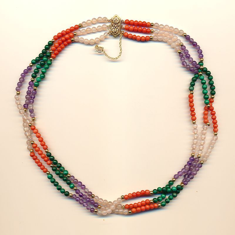 14K Gold & Multi Gemstone Bead Necklace - Coral Amethyst & More