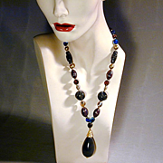 Odd Couple Vintage Necklace - Bakelite & Venetian Glass Beads