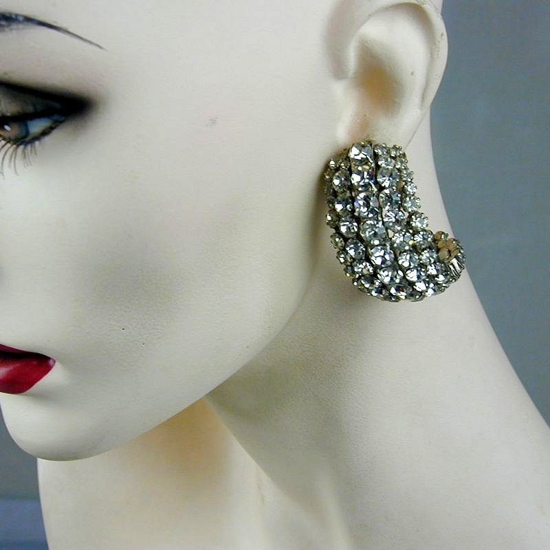 Big Wide Sparkling Rhinestone Curl Earrings - Vintage Clips