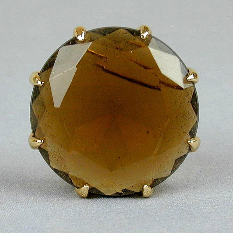 Big Chunky Vintage Facet-Cut Amber Glass Pin Brooch