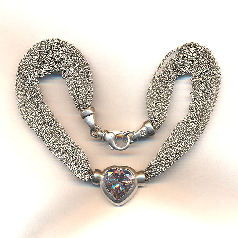 Vintage AVANTI Mexican Sterling Silver Necklace Heart w/ Big Crystal