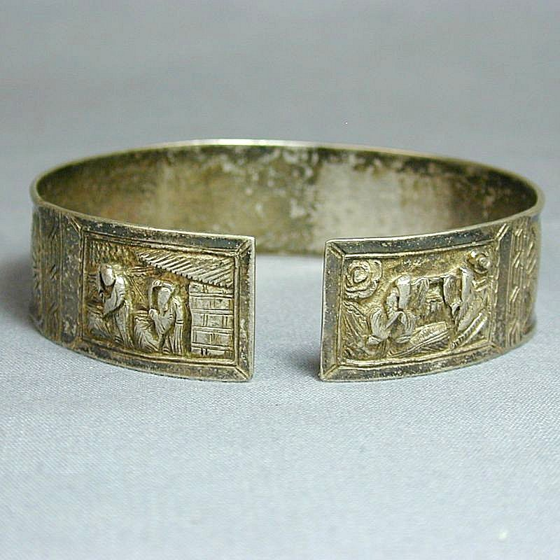 Antique Chinese Silver Cuff Bracelet Signed Etched c19th Cent.