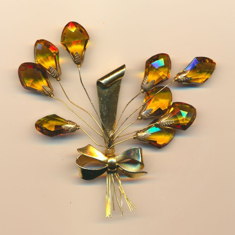 1930s Sterling Silver Gold Vermeil TREMBLER Pin Flowers