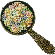 Vintage Schildkraut Petitpoint Compact Miniature Hand Mirror