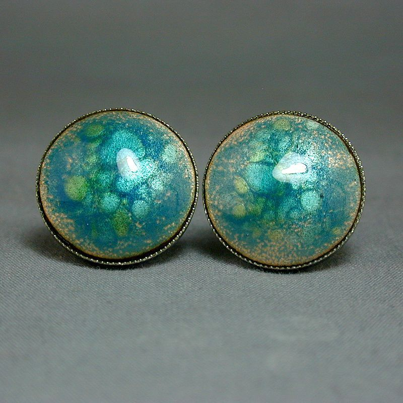 Mid-Century Enamel on Copper & Chrome Cufflinks