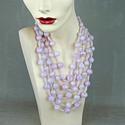 Big Pink Crackled Lucite 5-Strand Necklace