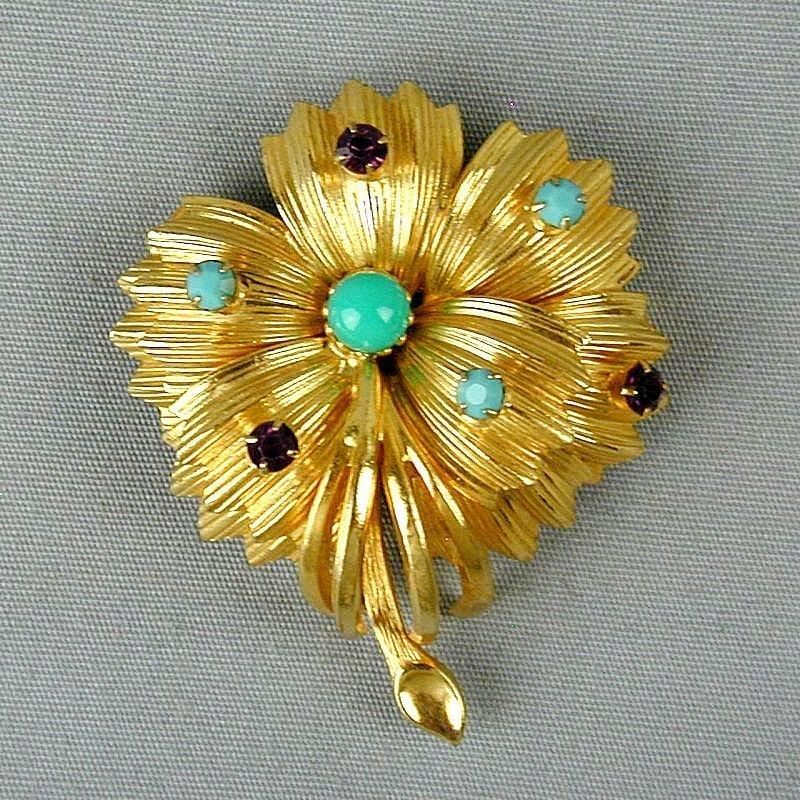 Vintage WARNER Figural Flower Pin w/ Rhinestones