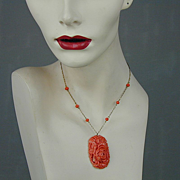 Vintage 1930s Celluloid Faux Carved Coral Pendant Necklace