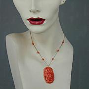 Vintage 1930s Celluloid Faux Carved Coral Pendant Necklace