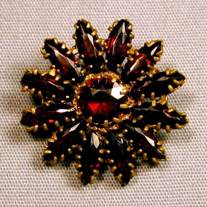 Lovely Old Czech GARNET Sunflower Pin Brooch
