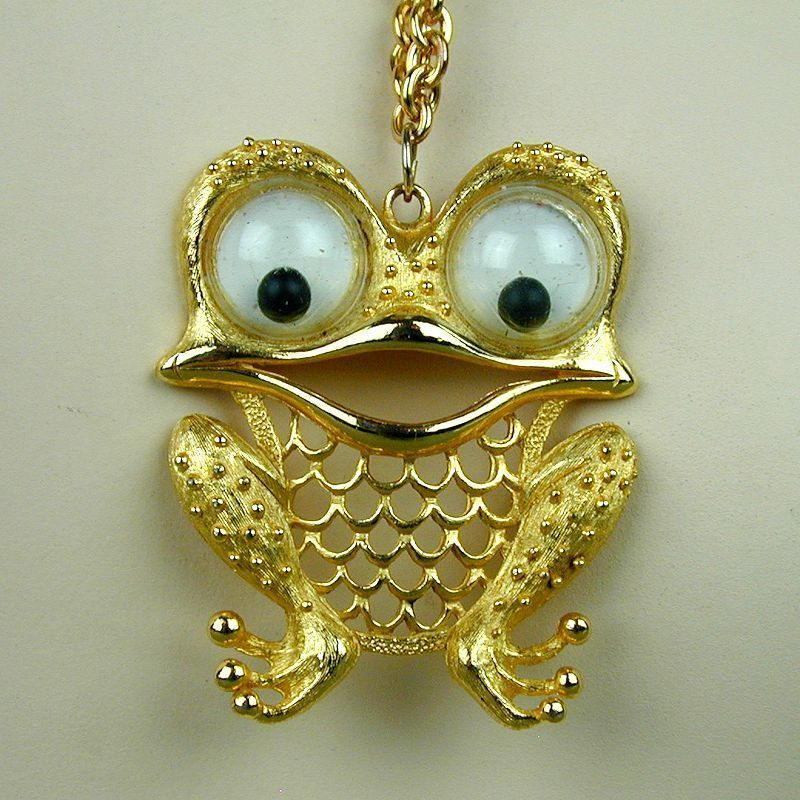 Vintage JJ Jonette Googly-Eyes Owl Pendant Necklace